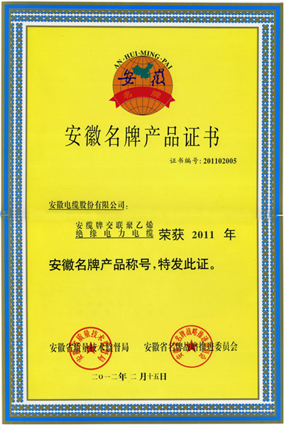 Certificate for Anhui's Famous-brand Products