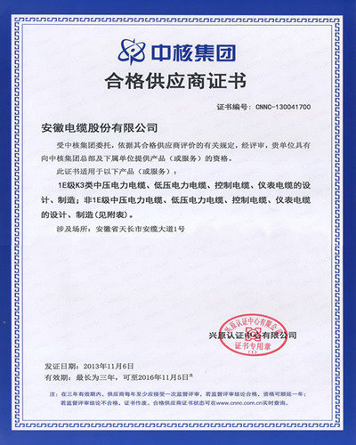 Qualified Supplier Certificate of China National Nuclear Corporation